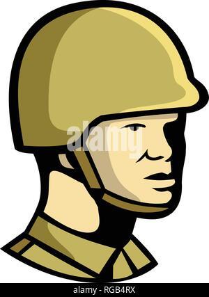 Icona di stile retrò illustrazione di un comunista cinese soldato o ufficiale militare personale cercando di lato su sfondo isolato. Immagini Stock
