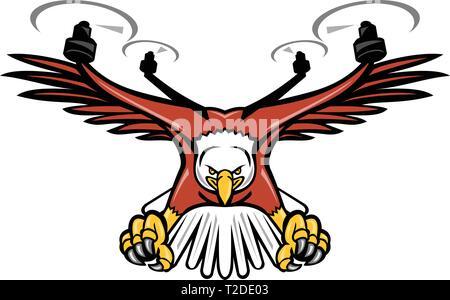 Icona di mascotte illustrazione di un mezzo eagle metà drone o quadcopter con rotore a quattro eliche piombando giù con artigli rivolta verso viste dalla parte anteriore sulla iso Immagini Stock