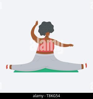 La ragazza più dimensioni. lo spago in palestra. Materassino Yoga per il fitness. Salute sport nel club. Donna grassa facendo esercizi, perdita di peso, stretching, in fase di riscaldamento. Carino Immagini Stock