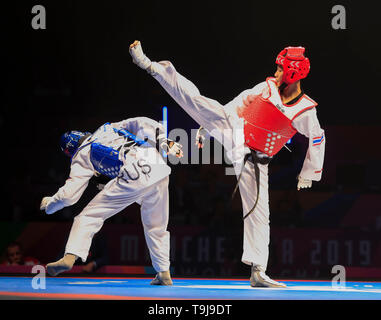 Manchester, Regno Unito. Il 19 maggio 2019. Taekwondo Campionati del mondo; Phannapa Harnsujin (THA) in azione durante il suo -53kg del campionato del mondo di Final Bout contro Tatiana Kudashova (RUS) Credit: Azione Plus immagini di sport/Alamy Live News Immagini Stock