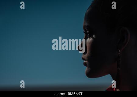 Ritratto di moda di un profilo femmina su uno sfondo scuro Immagini Stock
