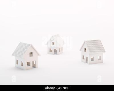 Tre piccole case modello - immobiliare concetto 3d illustrazione Immagini Stock