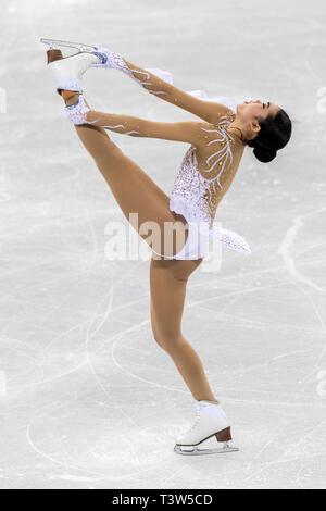 Karen Chen (USA) competere nel pattinaggio di figura - Ladies' breve presso i Giochi Olimpici Invernali PyeongChang 2018 Immagini Stock