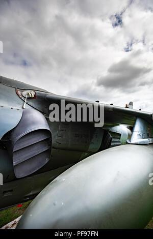 L'Harrier, informalmente definita come l'Harrier Jump Jet, è una famiglia di jet-powered attacco aeromobile in grado di verticale/breve decollo e atterraggio Immagini Stock