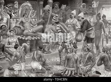 Pulakeshin II, Chalukaya riceve inviati dalla Persia a Badami, 625 ANNUNCIO Immagini Stock