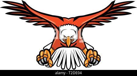 Icona di mascotte illustrazione di un aquila calva, sea eagle o American Eagle piombando giù con artigli rivolta verso viste dalla parte anteriore su sfondo isolato in ret Immagini Stock