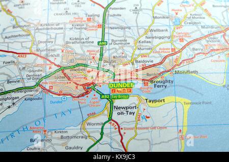 Cartina Stradale Della Scozia.Mappa Stradale Della Scozia Foto Stock Alamy