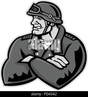 Icona di mascotte illustrazione del busto di un maschio o biker moto club atleta che indossa un casco vintage con le braccia incrociate cercando di lato su isolati . Immagini Stock