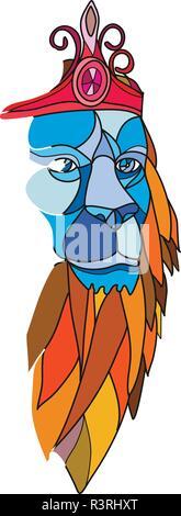 Mosaico di basso Stile del poligono illustrazione di un leone con grande mane indossa una tiara corona se visto dalla parte anteriore sulla isolato sfondo bianco a colori. Immagini Stock