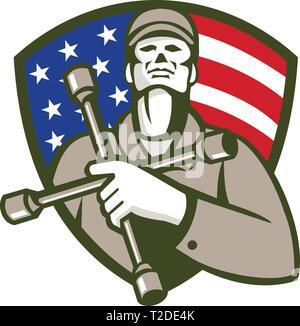 Illustrazione di un lavoratore meccanico di contenimento del pneumatico la chiave a 4 vie chiave di manovra o pneumatico di ferro sul petto cercando di impostare la protezione in cresta con american bandiera degli Stati Uniti s Immagini Stock