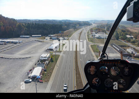 Gita in elicottero sopra Sevierville, Tennessee, voce per il Great Smoky Mountain National Park Immagini Stock