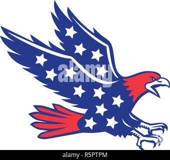 Icona di stile retrò illustrazione di un American Eagle urlando e piomba visto dal lato con stelle all'interno corpo isolato su sfondo. Immagini Stock