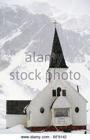 Cappella a abbandonata la stazione baleniera, Grytviken, Isola Georgia del Sud Immagini Stock