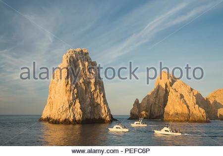 Land's End, in corrispondenza della punta di Baja a Cabo San Lucas. Immagini Stock