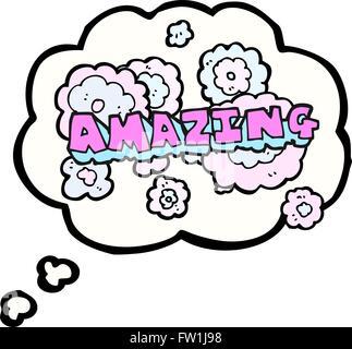 Disegnate a mano libera bolle di pensiero cartoon parola sorprendente Immagini Stock