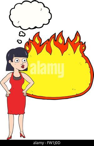 Disegnate a mano libera bolle di pensiero cartoon donna in abito con le mani sui fianchi e banner di fiamma Immagini Stock