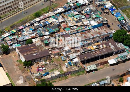Vista aerea di un insediamento informale nel centro di Johannesburg.Sud Africa Immagini Stock