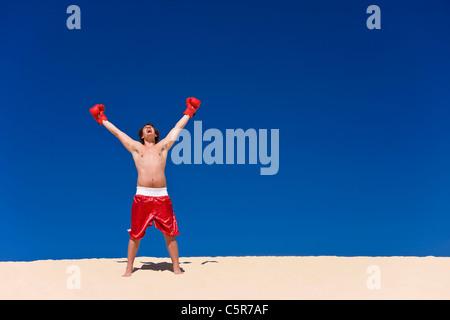 Boxer celebrando Immagini Stock