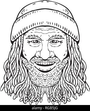Disegno stile sketch illustrazione della testa di un Rastafarian dude, Rastafari o ragazzo Rastafarianism praticanti, una religione abramitica sviluppato in Jamaic Immagini Stock
