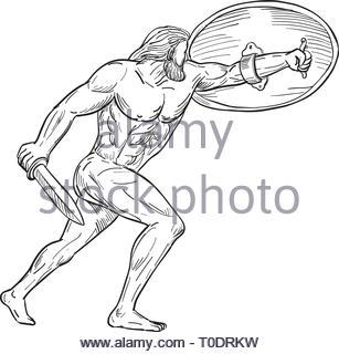 Schizzo di disegno illustrazione dello stile di Ercole, un eroe romano e dio equivalente alla divina greco eroe Eracle, schermatura con scudo e portante un swo Immagini Stock