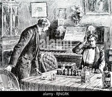 Una incisione raffigurante un simpatico gioco di scacchi aiutata da un whisky e soda. Datata del XIX secolo Immagini Stock