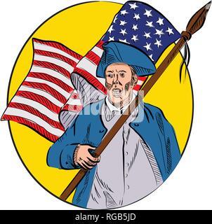 Schizzo di disegno illustrazione dello stile di un american patriot soldato rivoluzionario o minuteman milizia, tenendo un Stati Uniti a stelle e strisce flag impostato all'interno di o Immagini Stock