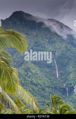 Hanalei Bay, Hawaii, Kauai, palme e cascata Immagini Stock