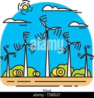 Impianto eolico. Potenza elettrica o stazione di generazione. Edificio industriale icona. Il flusso di aria e di turbine. Fonti ecologiche di elettricità e Immagini Stock