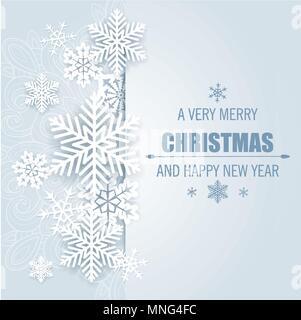Vettore decorativo sullo sfondo di Natale con il Libro bianco di fiocchi di neve. Buon Natale scritte. Immagini Stock