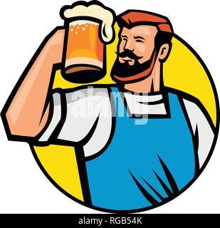 Icona di mascotte illustrazione del busto di un barbuto hipster tostare un boccale di birra o ale insieme all'interno del cerchio se visto dalla parte anteriore su sfondo isolato in retr Immagini Stock