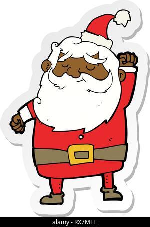 Adesivo di un cartone animato di Babbo Natale aria di punzonatura Immagini Stock