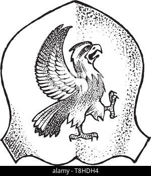 Per animale araldico in stile vintage. Inciso lo stemma con eagle bird e mitica creatura. Emblemi medievale e il logo del regno fantasy. Immagini Stock