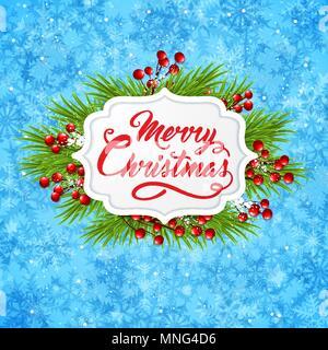 Vettore banner di Natale con verde ramo di abete e il messaggio di saluto iscrizione su uno sfondo blu. Buon Natale scritte Immagini Stock