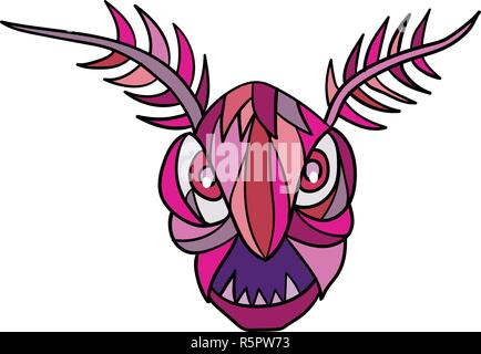 Mosaico di basso Stile del poligono illustrazione della testa di un mothman in West Virginia folklore, un uccello con la testa e il corpo di una falena su whit isolato Immagini Stock