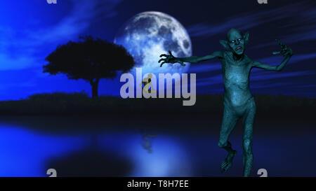 3D render di uno zombie con tree stagliano contro un cielo chiaro di luna Immagini Stock