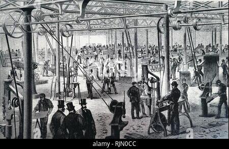 Illustrazione che mostra gli uomini su un battistrada mill, sollevamento acqua, utilizzando una piazza cinese pallet pompa a catena. 1835 Immagini Stock