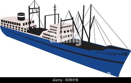 In stile retrò illustrazione di un cargo vintage, commerciante o nave passeggeri ocean liner visto da un angolo alto su sfondo isolato. Immagini Stock