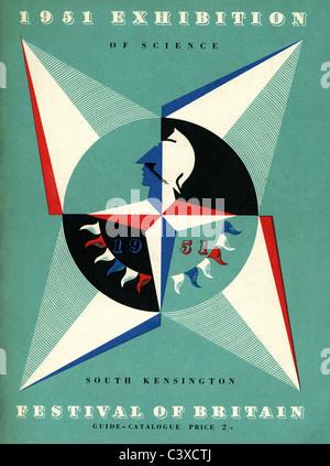 Coperchio della guida per il 1951 mostra di scienza svoltasi a South Kensington, parte del Festival di Gran Bretagna, Immagini Stock