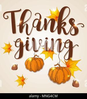 Biglietto di auguri per il giorno del Ringraziamento con orange zucche, ghiande e foglie di acero Immagini Stock