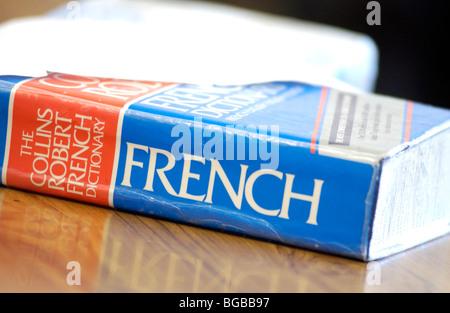 Fotografia del dizionario di francese Corso di apprendimento collegio degli studenti Immagini Stock
