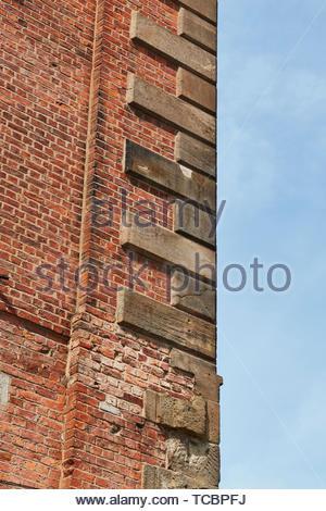 Dettaglio di mattoni. Magazzino di Londra, Manchester, Regno Unito. Architetto: Archer Humphreys architetti, 2018. Immagini Stock
