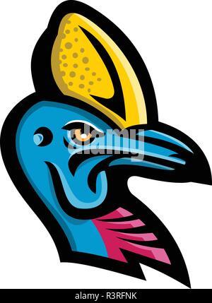 Icona di mascotte illustrazione della testa di un Casuario, genere Casuarius, ratiti una specie di uccelli nativi di Nuova Guinea e Australia visto dal lato su iso Immagini Stock