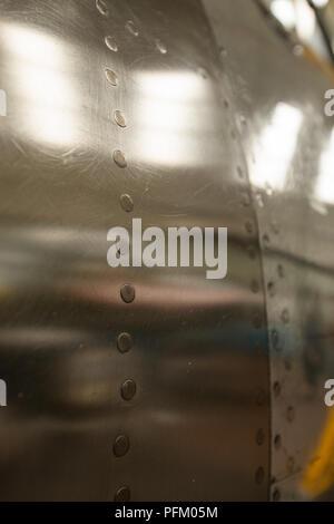 Close up di aeromobili in alluminio del corpo Immagini Stock