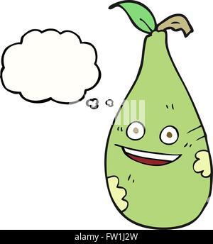 Disegnate a mano libera bolle di pensiero cartoon pera Immagini Stock