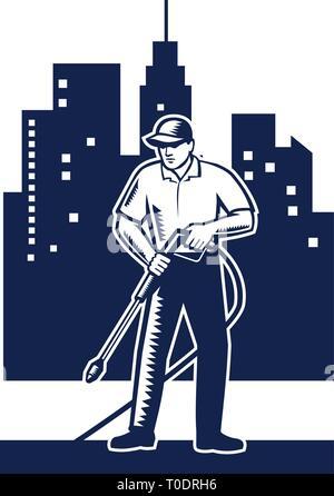 Illustrazione del lavoratore di sesso maschile con la rondella di pressione di lavaggio chimico utilizzando acqua ad alta pressione spray con edifici urbani e il paesaggio sullo sfondo don Immagini Stock