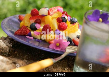 Macedonia di frutta con fiori commestibili Immagini Stock