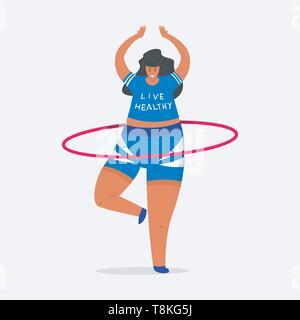 Hula hoop per il fitness. La ragazza più dimensioni. Salute sport nel club. Donna grassa facendo esercizi, perdita di peso, in fase di riscaldamento. Forza di formazione in palestra. Carino Immagini Stock