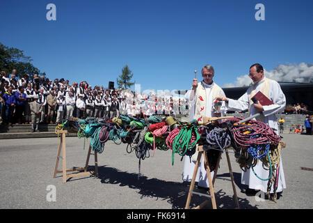 Sacerdote benedizione preleva ghiaccio e corde, Saint-Gervais guide di montagna festival, Saint-Gervais-les-Bains, Immagini Stock