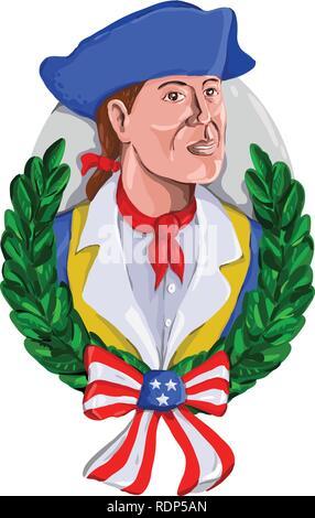 Retrò stile acquerello illustrazione di un american patriot o soldato rivoluzionario che indossa o Tricorno tricorno cappello con foglia di oliva corona e USA star Immagini Stock