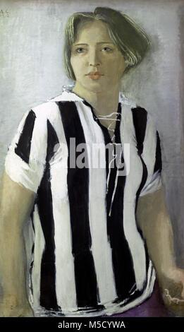 742590 Riproduzione di 'Ragazza in T-Shirt' pittura (1932) di artista Alexander Samokhvalov (1894-1971). Immagini Stock